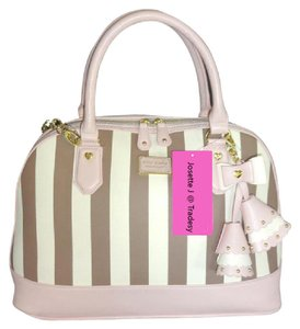 Betsey Johnson Dome Zipper Closure Striped Pink Trim Satchel in spice/bone