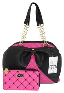 Betsey Johnson Zipper Closure Quilted Diamonds Bow Wallet Satchel in FUCHSIA
