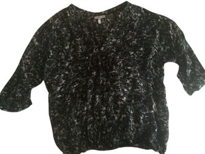 Joie Silk Going Out Floral Top Black green Cream