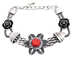 Other Floret Adorned Bracelet with Colored Stone