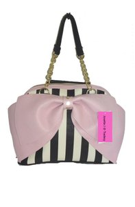 Betsey Johnson Zipper Closure Pink Bow Dome/x Body Satchel in BLACK/BONE STRIPED