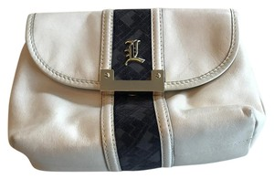 L.A.M.B. White Leather Cosmetic Bag