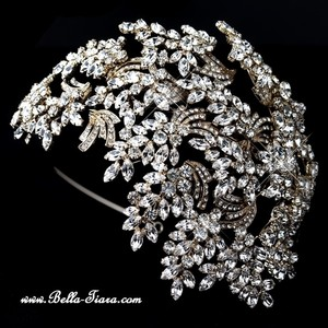 Bella Tiara Stunning Light Gold Crystal Leaf Wedding Side Headband