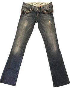 Guess Light Distressed Daredevil Boot Cut Jeans-Light Wash