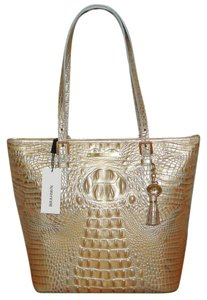 Brahmin Melbourne Leather Tote in Mojave Gold W/Blue Accents