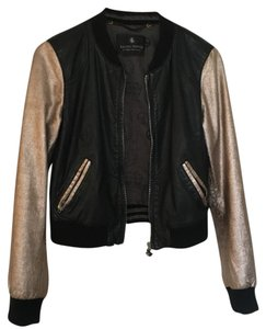Scotch & Soda Black and Gold Leather Jacket