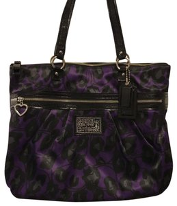 Coach Tote in black and purple