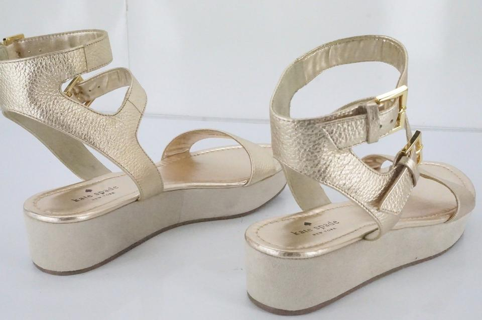 19529da2f52 Kate Spade Gold Metallic Leather Troy Double Ankle Strap Platform Sandals  Wedges Size US 9.5 Regular (M