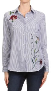 #fashion #embroidered Top Blue