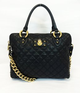 Marc Jacobs Quilted Standard Lambskin Leather Satchel in Black