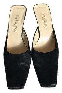 Prada Satin Kitten Heel Black Mules