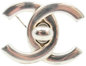 Chanel #10061 CC turnlock silver hardware brooch pin charm