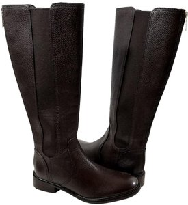 Tory Burch Gored Elastic Leather Lining Full Back Closure Brown Boots