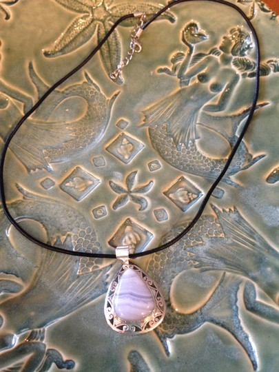 Other Blue Lace Agate Gemstone Necklace in Sterling Silver setting .925 NEW!!