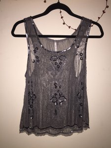 Willow & Clay Sparkle Embellished Fringe Hem Sequin Top Silver