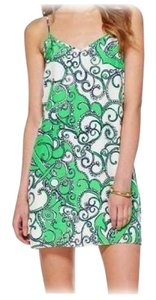 Lilly Pulitzer short dress Greens & White Silk Slip Strappy Brand New on Tradesy