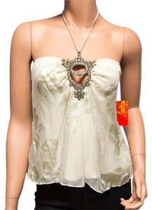 Ingwa Melero Silk 07 Sht R Embellished Runs Small Floral Ivory Halter Top