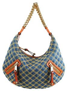 Marc Jacobs Denim Chain Tote Quilted Shoulder Bag