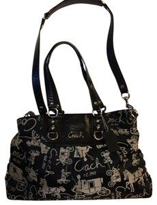 Coach Satchel in Black & Tan