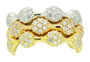 PANDORA Pandora 18K Gold LP RG 8 Pod Diamond Pave Three Rings