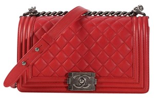 Chanel Red Ch.k1128.07 Quilted Leather Shoulder Bag