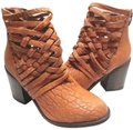 Free People Ankle Crisscrossed Straps Leather Stacked Heel Vintage Tan Boots Image 0