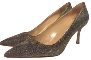 Manolo Blahnik silver/gold metallic Pumps