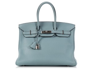 Hermès Blue Hr.k1110.01 Clemence Leather Palladium Satchel