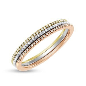 0.15 Ct. Set of Tricolor Gold Diamond Tri-Colored Pave Rings 1mm Bands