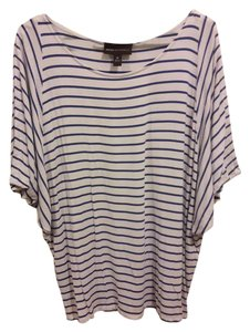 Dana Buchman Rayon Top blue / white striped