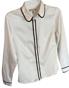 Banana Republic Blouse Non-iron Fitted Button Down Shirt White