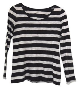 Ann Taylor LOFT Striped Longsleeve T Shirt Gray & White
