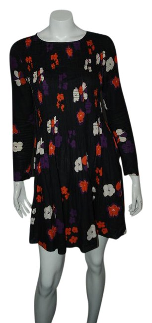 Preload https://img-static.tradesy.com/item/20510529/zadig-and-voltaire-multicolor-361216-black-w-flower-printed-arty-mid-length-short-casual-dress-size-0-1-650-650.jpg