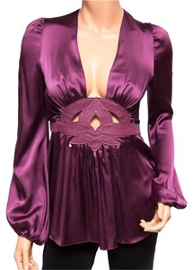 Ingwa Melero Silk Leather Long Sleeve Sexy Top Purple