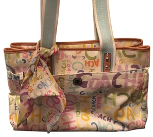 White with colors coach tote bag Tote in white