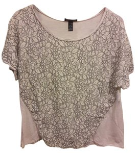 AB Studio Comfortable Floral Flowy Top Ivory / Black Lace