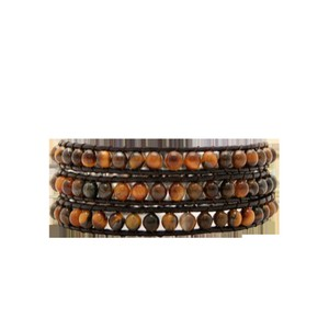 INTAGLIA DESIGNS Intaglia Designs Tiger Eye Chocolate Leather 3 Wrap Bracelet IDJ2000-C