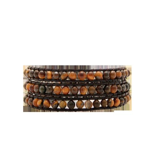 Preload https://img-static.tradesy.com/item/20510640/tiger-eye-on-chocolate-leather-3-wrap-idj2000-c-bracelet-0-2-540-540.jpg
