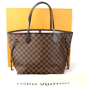 Louis Vuitton Neverfull Neverfull Mm Leather Damier Canvas Tote