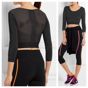 Nike Nike Lab pro black sporty mesh 3/4 sleeve crop top.