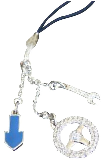 Item - Silver/Blue New Edison Car Cell Phone Charm 933621 Tech Accessory