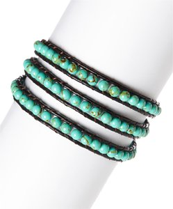 INTAGLIA DESIGNS Intaglia Designs Turquoise Chocolate Leather 3 Wrap Bracelet IDJ2001-C