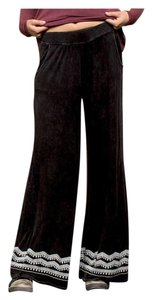 Other Embroidery Wide Leg Elastic Waist Loose Fit Pockets Super Flare Pants Black