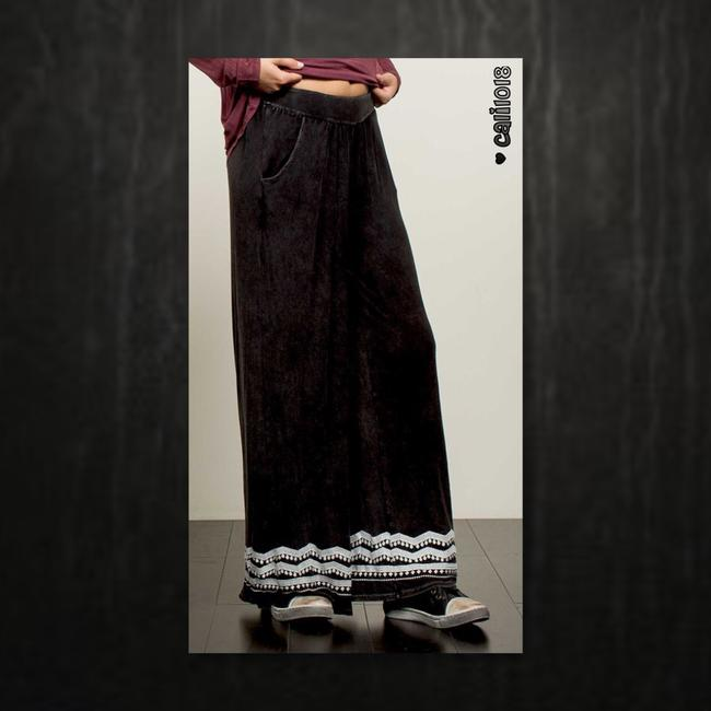 Other Embroidery Wide Leg Elastic Waist Loose Fit Pockets Super Flare Pants Black Image 1