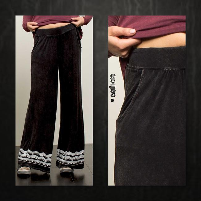 Other Embroidery Wide Leg Elastic Waist Loose Fit Pockets Super Flare Pants Black Image 2