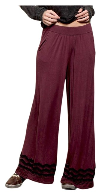 Preload https://img-static.tradesy.com/item/20510723/burgundy-new-mineral-wash-wide-leg-embroidery-trim-super-flared-pants-size-10-m-31-0-1-650-650.jpg