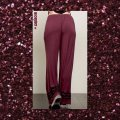 Other Embroidery Wide Leg Elastic Waist Loose Fit Pockets Super Flare Pants Burgundy Image 3