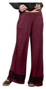 Other Embroidery Wide Leg Elastic Waist Loose Fit Pockets Super Flare Pants Burgundy