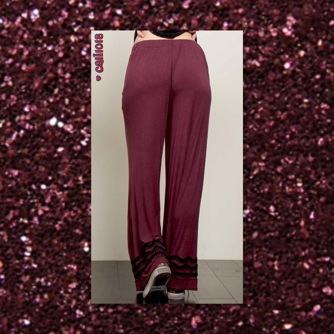 Other Embroidery Wide Leg Elastic Waist Loose Fit Pockets Super Flare Pants Burgundy Image 2
