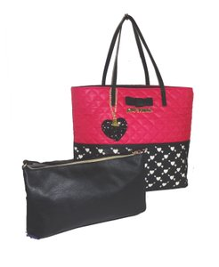 Betsey Johnson Tote in fuchsia/black